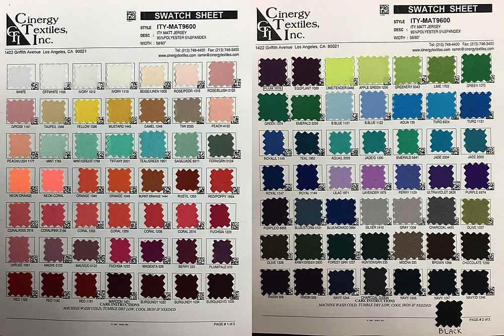 ITY-MAT9600 / ITY Matt Jersey 95%Polyester 5%Spandex