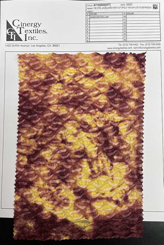 AT1S2003[WT] / Tie Dye Jacquard Knit 57%Poly 40%Nylon 3%Spandex