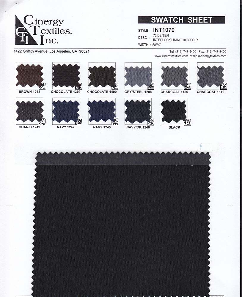 INT1070 / 70 DENIER INTERLOCK LINING 100%POLYESTER