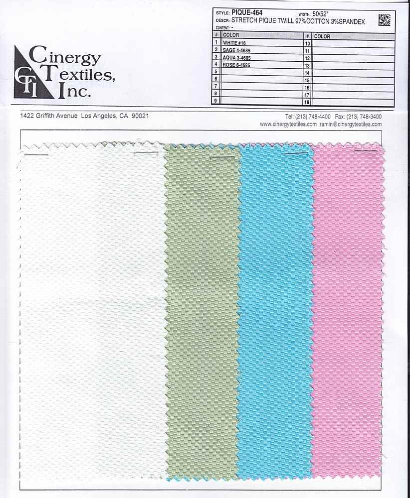 PIQUE-464 / Stretch Pique Twill 97%Cotton 3%Spandex