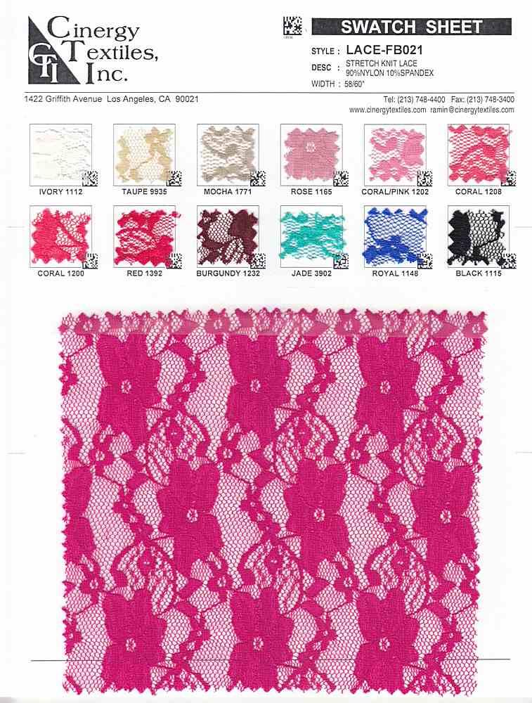 LACE-FB021 / Stretch Knit Lace 90%Nylon 10%Spandex