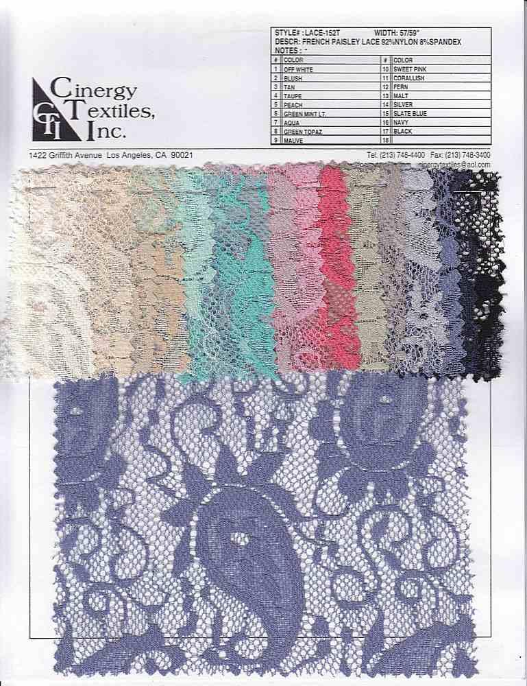 LACE-152T / Paisley Knit Lace 92%Nylon 8%Spandex