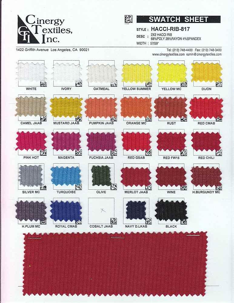 HACCI-RIB-817 / 2x2 Hacci Rib 68%Poly 28%Rayon 4%Spandex