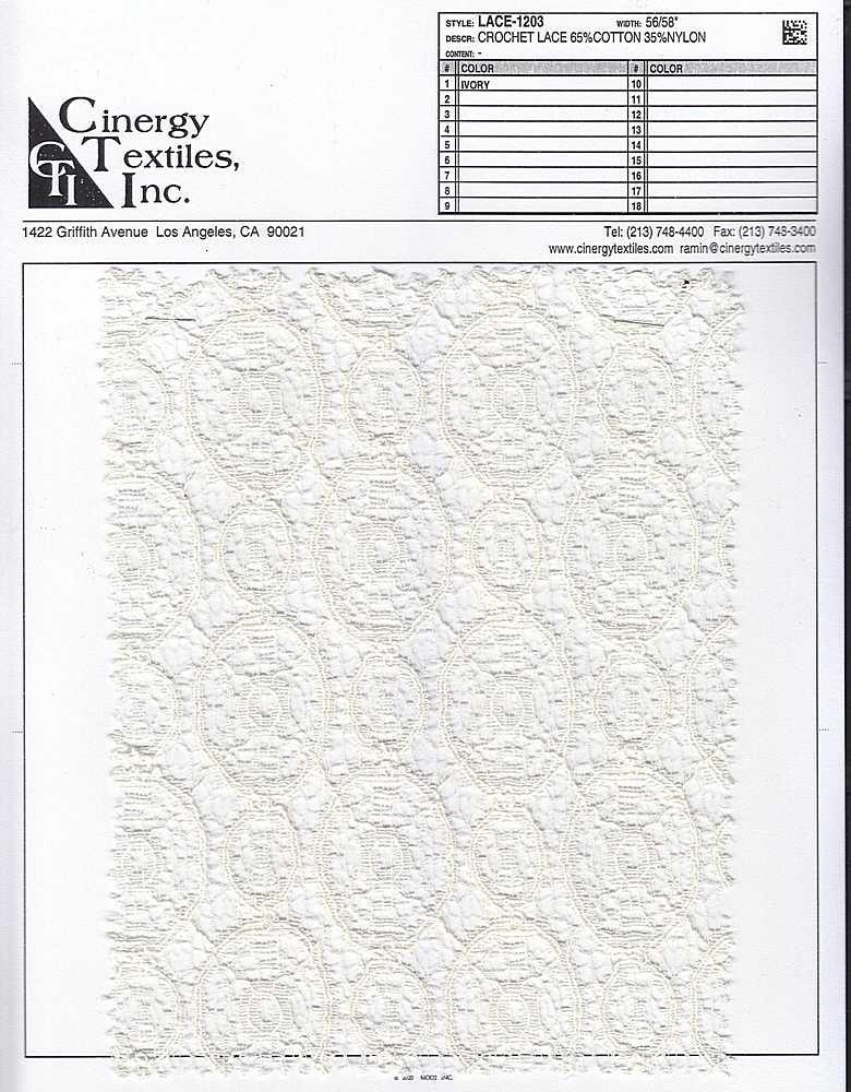 LACE-1203 / Crochet Lace 65%Cotton 35%Nylon