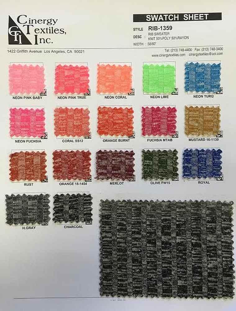 RIB-1359 / Rib Sweater Knit 50%Poly 50%Rayon
