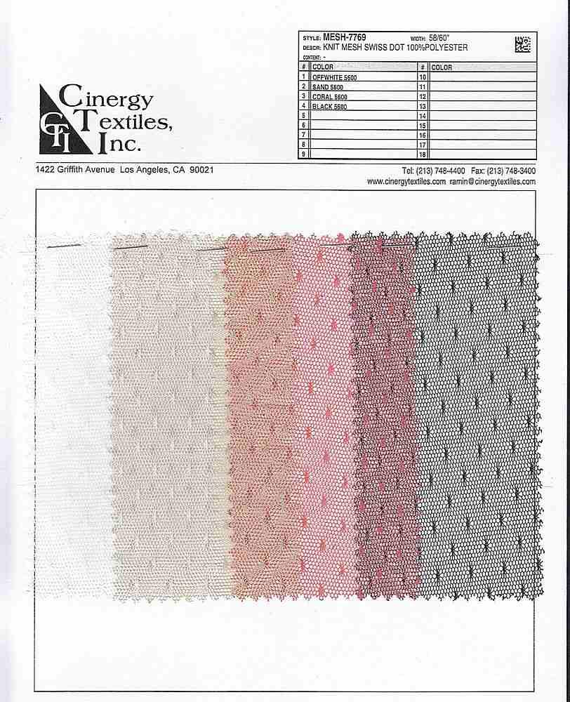 MESH-7769 / Knit Mesh Swiss Dot 100%Polyester