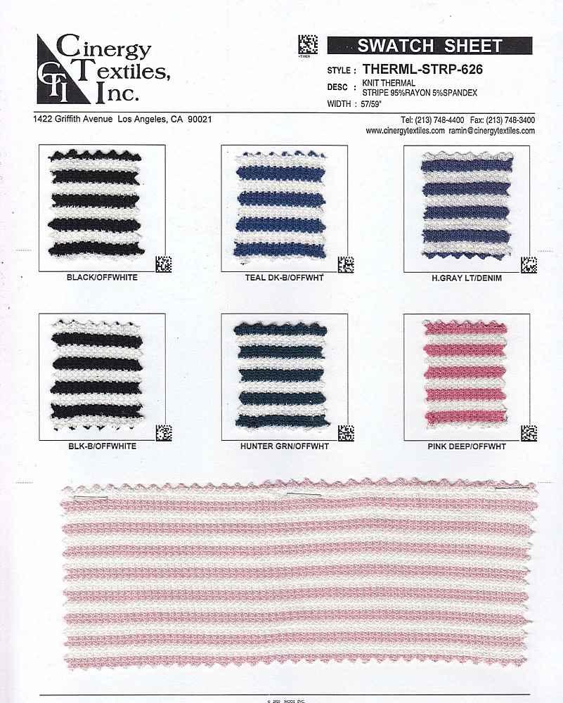 THERML-STRP-626 / Knit Thermal Stripe 95%Rayon 5%Spandex