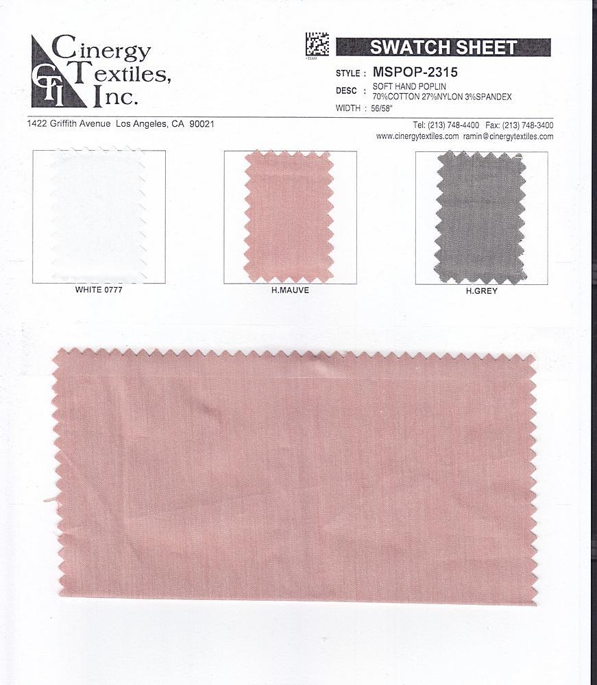 MSPOP-2315 / Soft Hand Poplin 70%Cotton 27%Nylon 3%Spandex