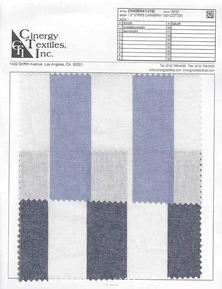 "CHAMBRAY-2193 / 1.5"" Stripe Chambray 100%Cotton"