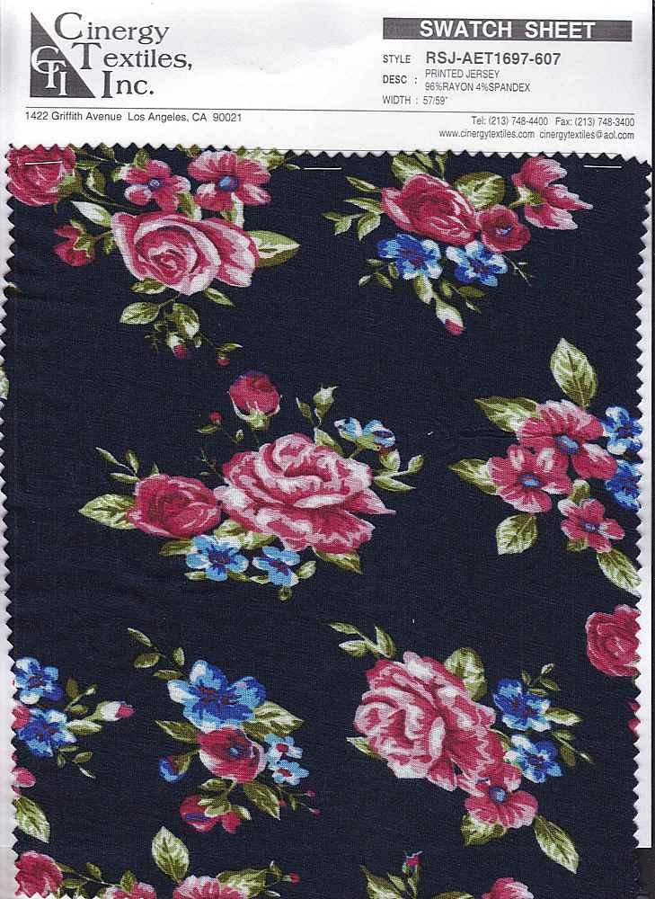 RSJ-AET1697-607 / Printed Jersey 96%Rayon 4%Spandex