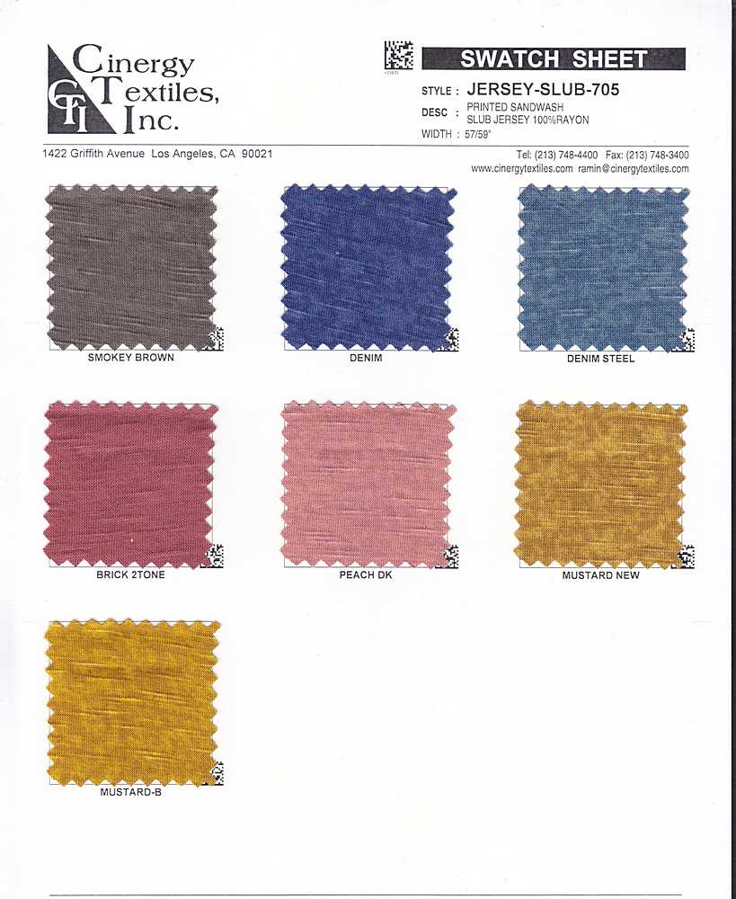 JERSEY-SLUB-705 / Printed Sandwash Slub Jersey 100%Rayon