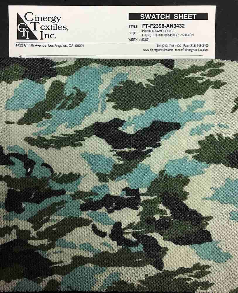 FT-F2398-AN3432 / Printed Camouflage French Terry 88%Poly 12%Rayon