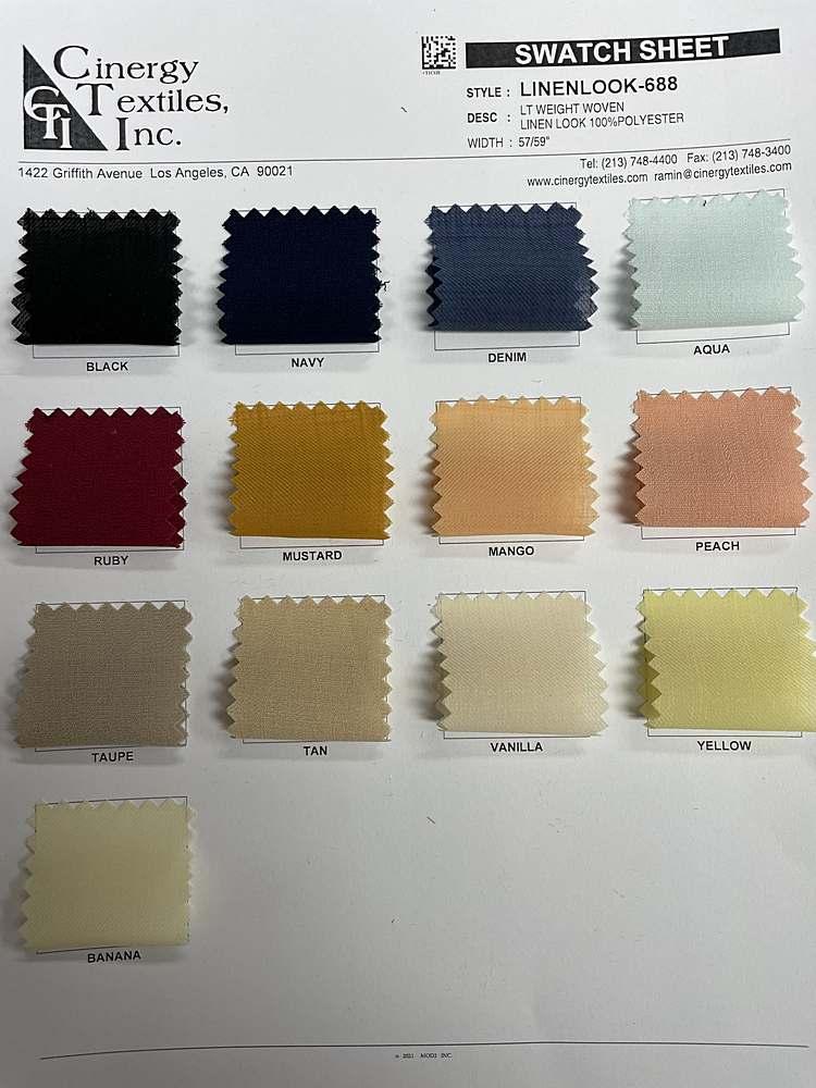 LINENLOOK-688 / Lt Weight Woven Linen Look 100%Polyester