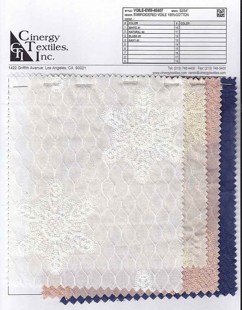 VOILE-EMB-85607 / Embroidered Voile 100%Cotton