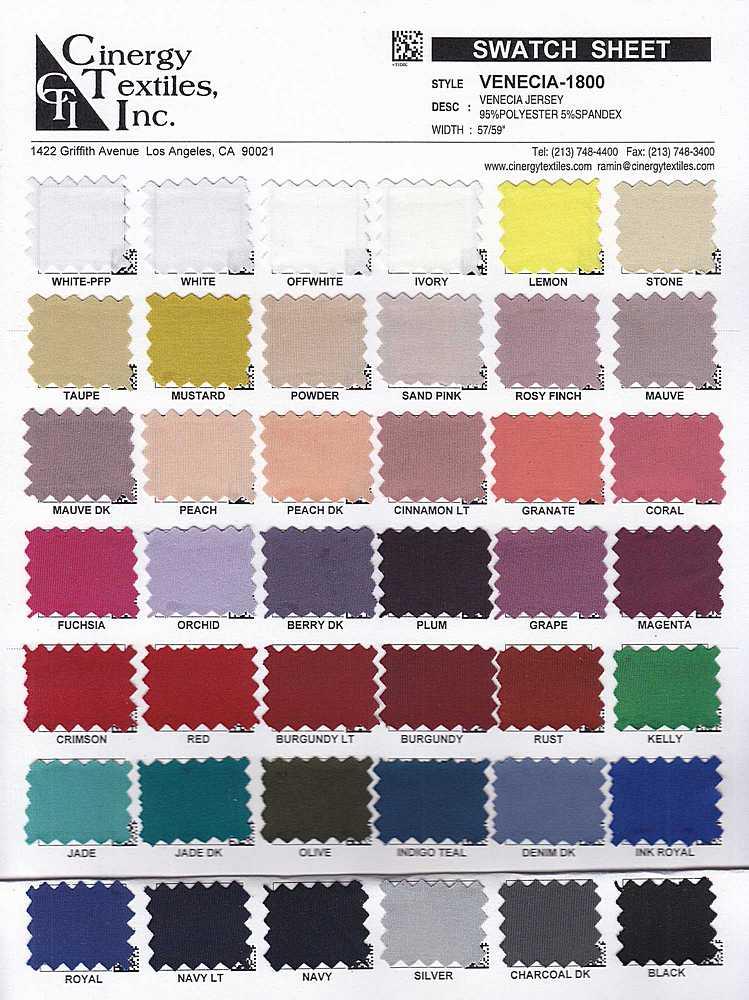 VENECIA-1800 / Venecia Jersey 95%Polyester 5%Spandex