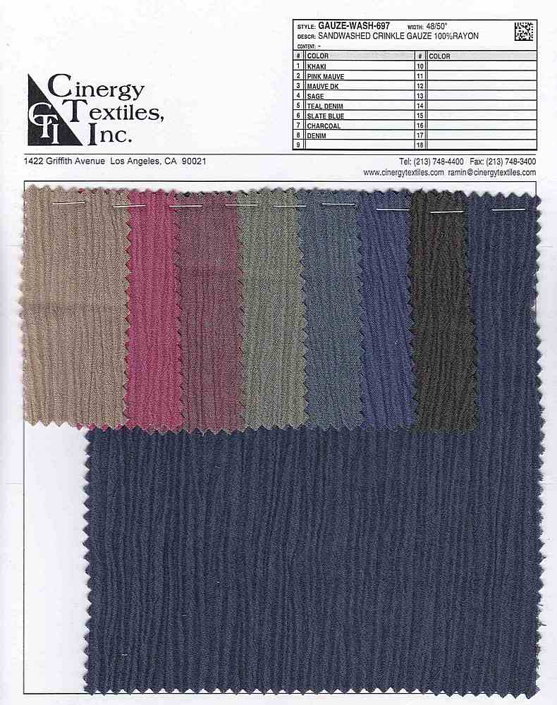 GAUZE-WASH-697 / Sandwashed Crinkle Gauze 100%Rayon