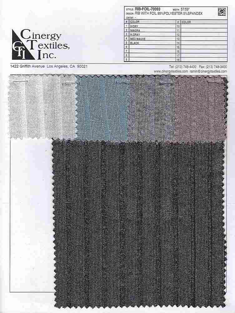 RIB-FOIL-70093 / Rib With Foil 95%Polyester 5%Spandex