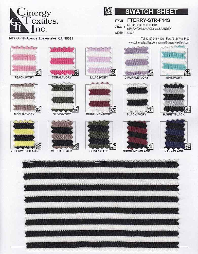 FTERRY-STR-F14S FAMILY RAYON/VISCOSE/TENCEL KNITS FRENCHTERRY/FLEECE BOTTOM/PANT WEIGHT TOP/DRESS STRIPE POLYESTER/NYLON SPANDEX
