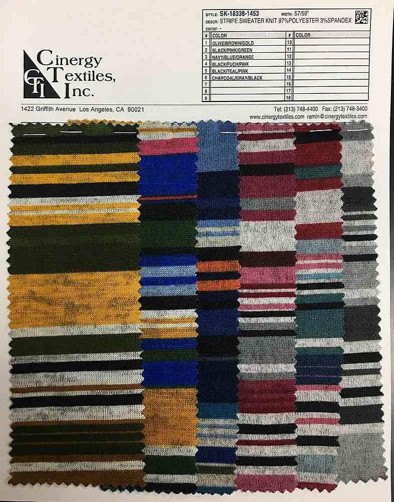 SK-18338-1453 / Stripe Sweater Knit 97%Polyester 3%Spandex