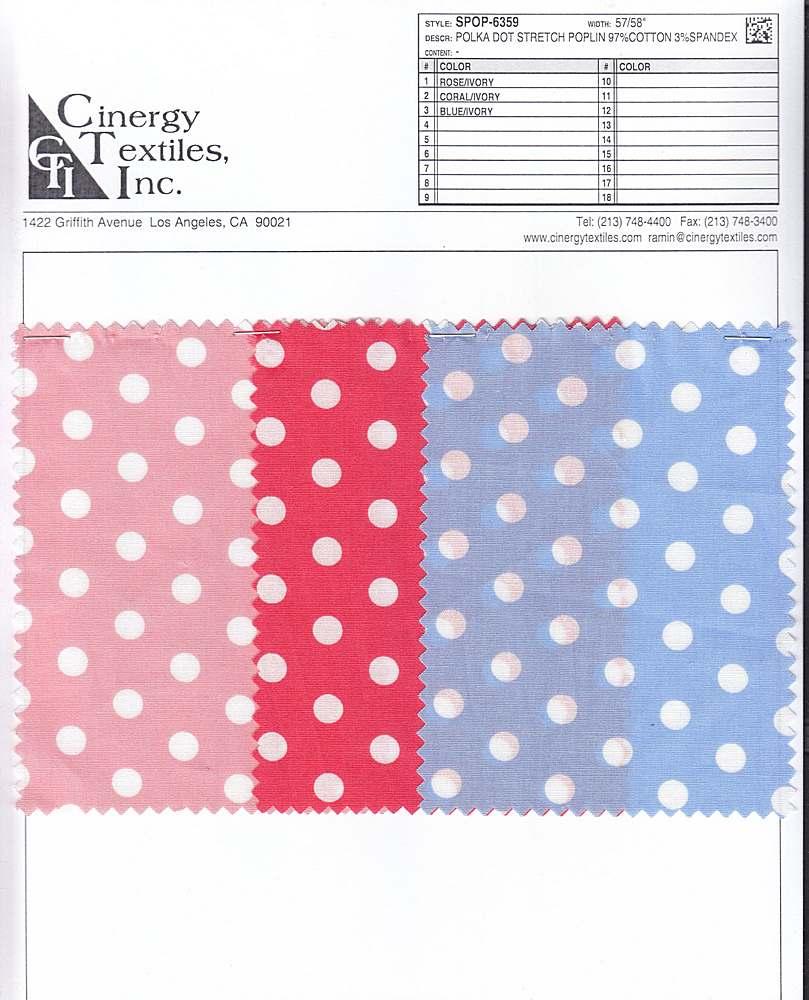 SPOP-6359 / Polka Dot Stretch Poplin 97%Cotton 3%Spandex