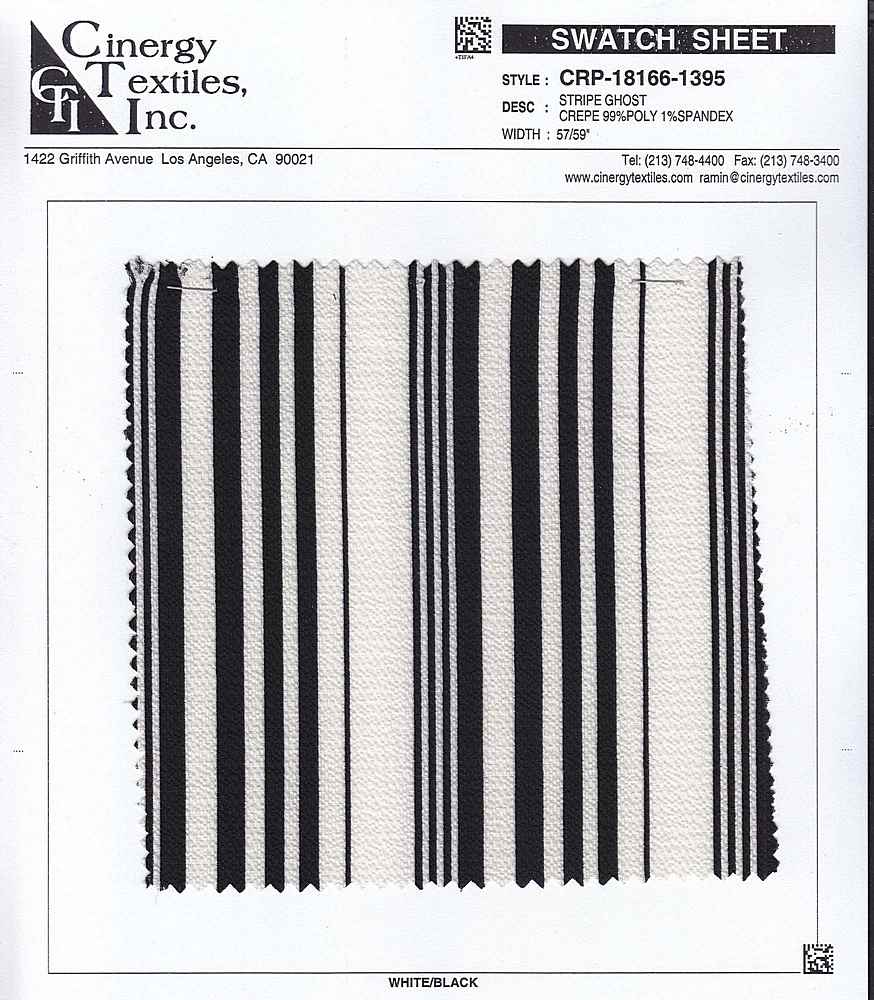 CRP-18166-1395 / Stripe Ghost Crepe 99%Poly 1%Spandex