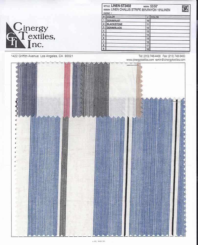 LINEN-ST3402 / Linen Challis Stripe 85%Rayon 15%Linen