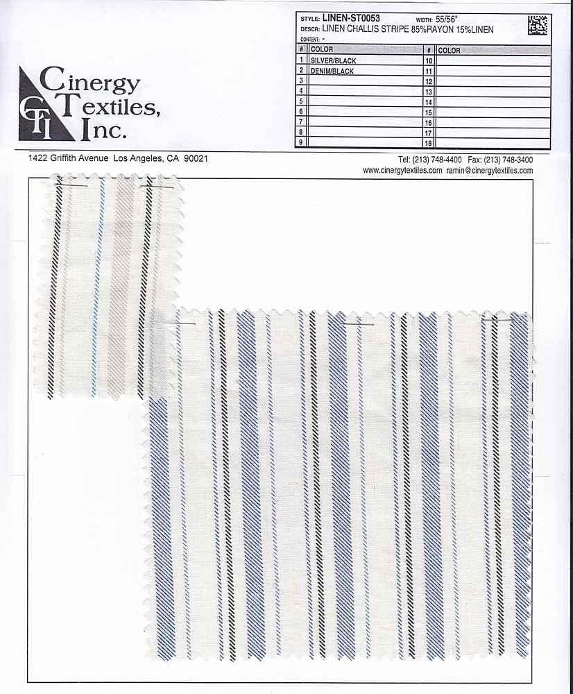 LINEN-ST0053 / Linen Challis Stripe 85%Rayon 15%Linen