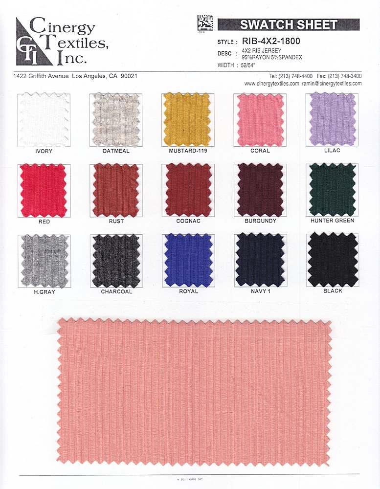 RIB-4X2-1800 / 4x2 Rib Jersey 95%Rayon 5%Spandex
