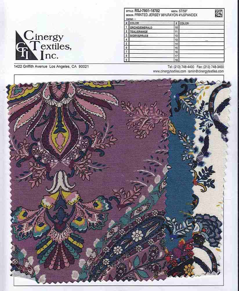 RSJ-7801-18782 / Printed Jersey 96%Rayon 4%Spandex