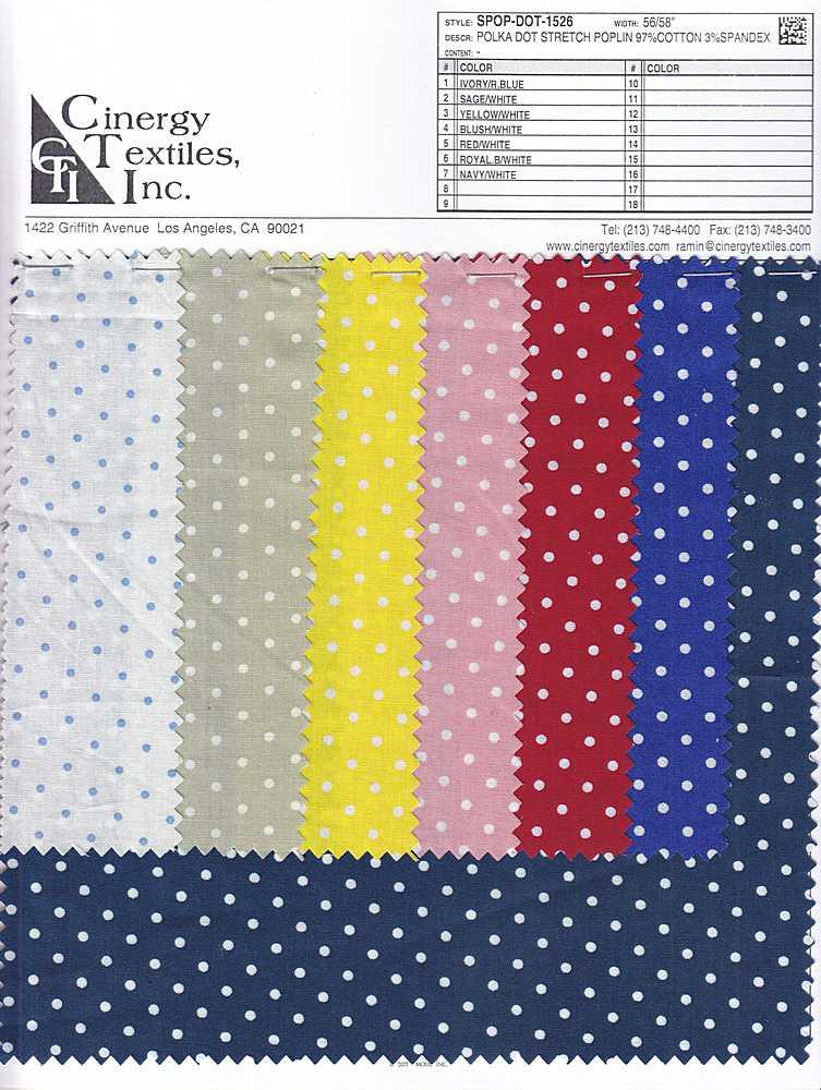 SPOP-DOT-1526 / Polka Dot Stretch Poplin 97%Cotton 3%Spandex