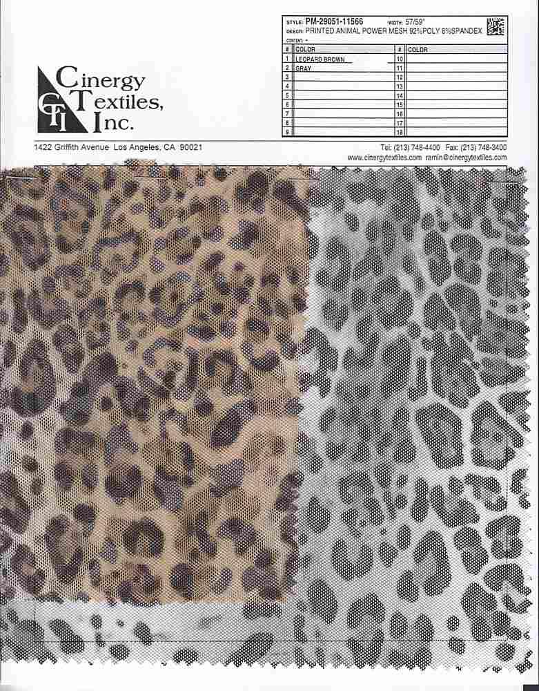 PM-29051-11566 / Printed Animal Power Mesh 92%Poly 8%Spandex