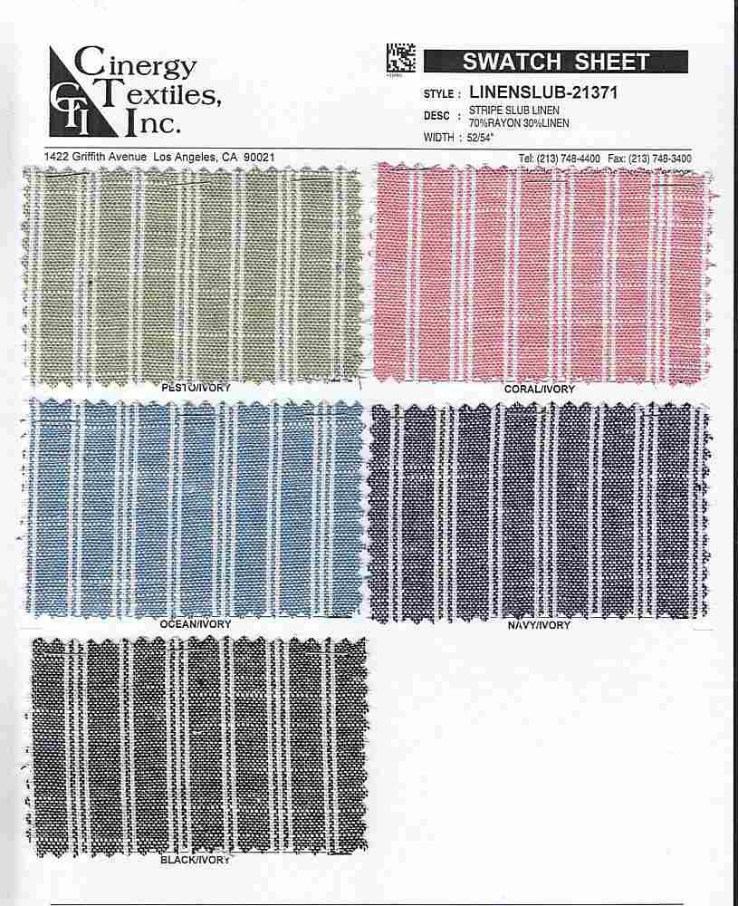 LINENSLUB-21371 FAMILY RAYON/VISCOSE/TENCEL SLUB WOVENS LINEN BOTTOM/PANT WEIGHT TOP/DRESS STRIPE
