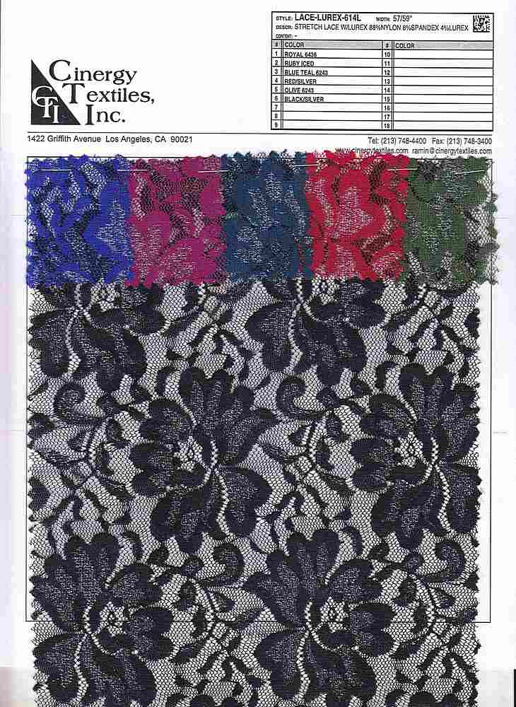 LACE-LUREX-614L / Stretch Lace W/Lurex 88%Nylon 8%Spandex 4%Lurex