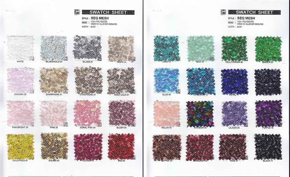 SEQ-MESH-9600 / All Over Sequins Mesh 100%Polyester