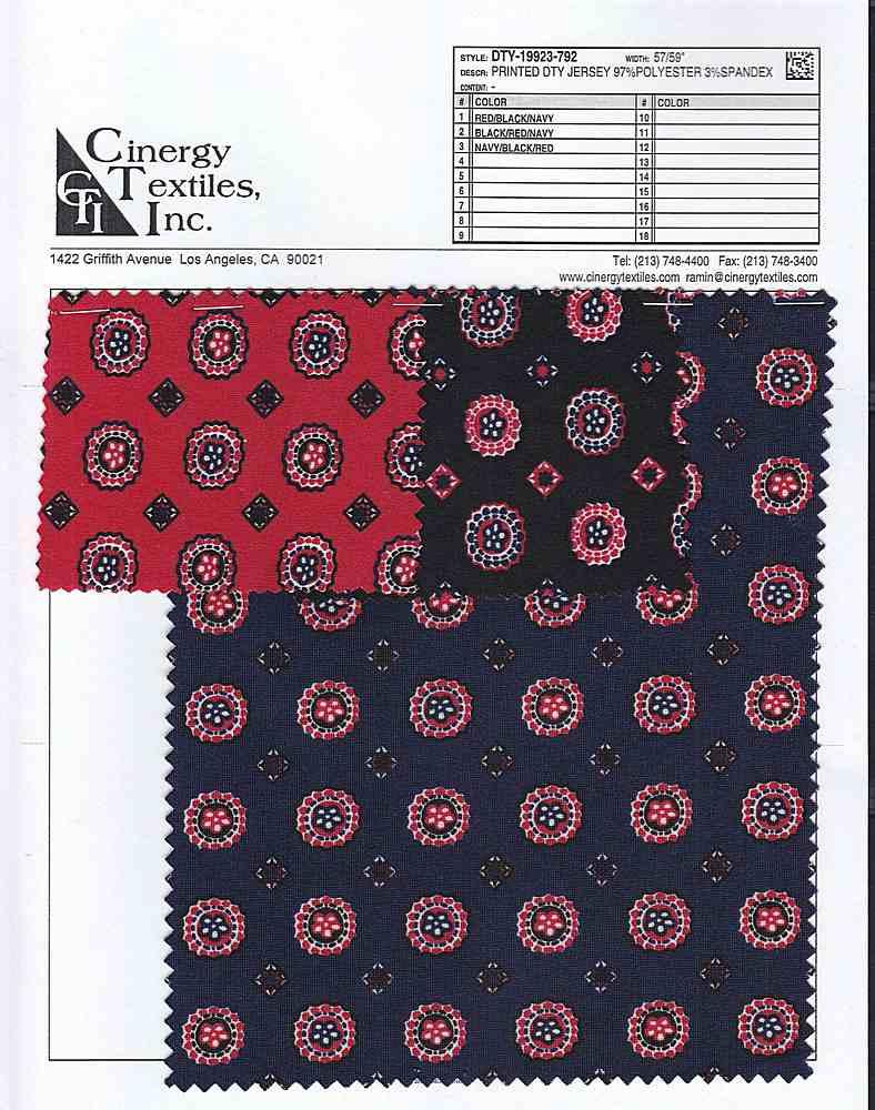 DTY-19923-792 / Printed DTY Jersey 97%Polyester 3%Spandex