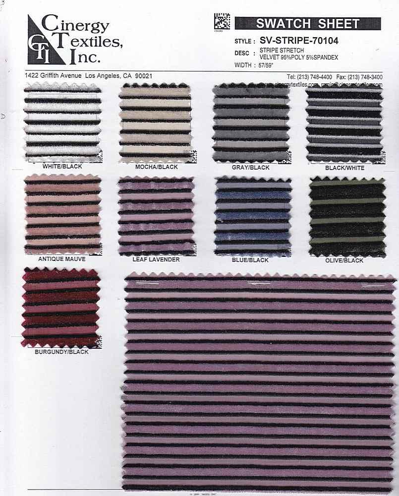 SV-STRIPE-70104 / Stripe Stretch Velvet 95%Poly 5%Spandex