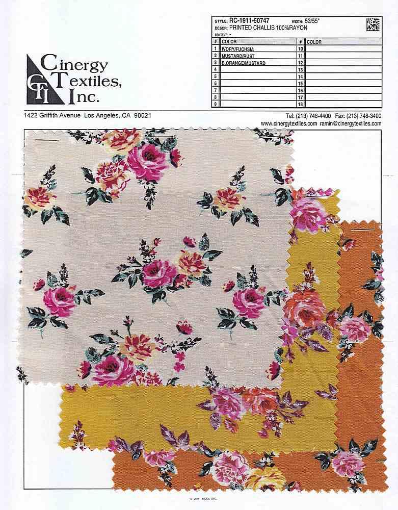 RC-1911-50747 / Printed Challis 100%Rayon