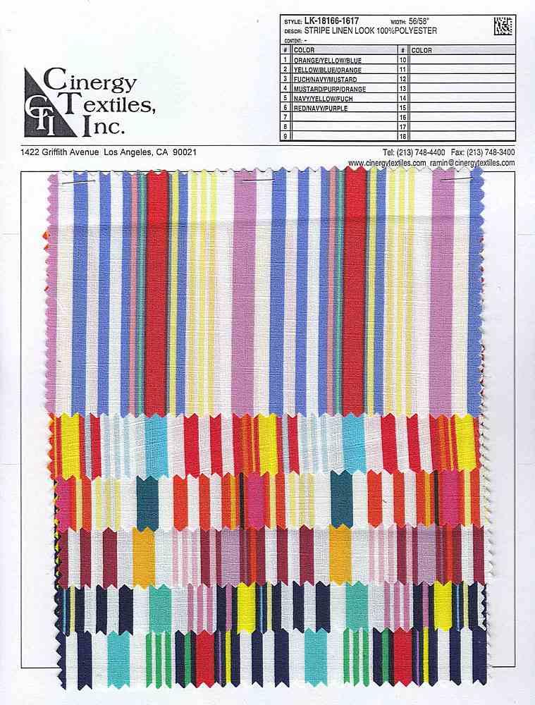 LK-18166-1617 / Stripe Linen Look 100%Polyester