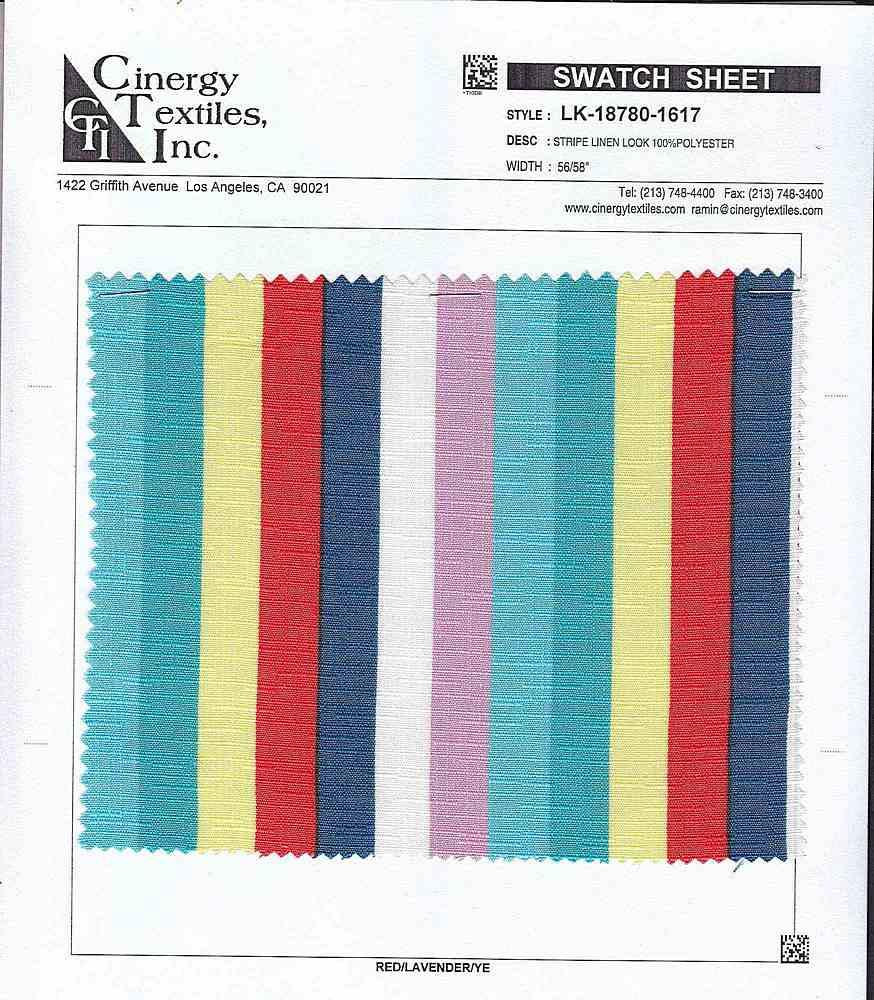 LK-18780-1617 / Stripe Linen Look 100%Polyester