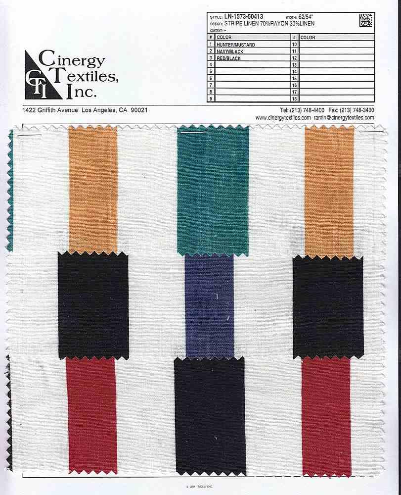 LN-1573-50413 / Stripe Linen 70%Rayon 30%Linen