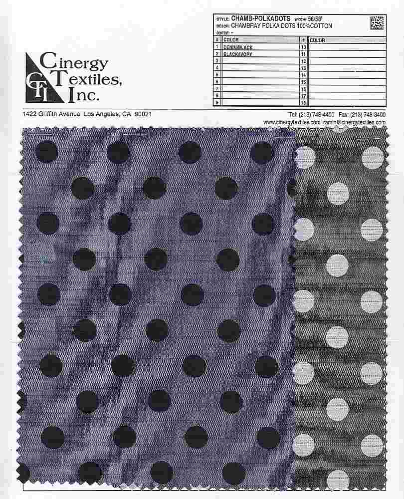 CHAMB-POLKADOTS / CHAMBRAY POLKA DOTS 100%COTTON