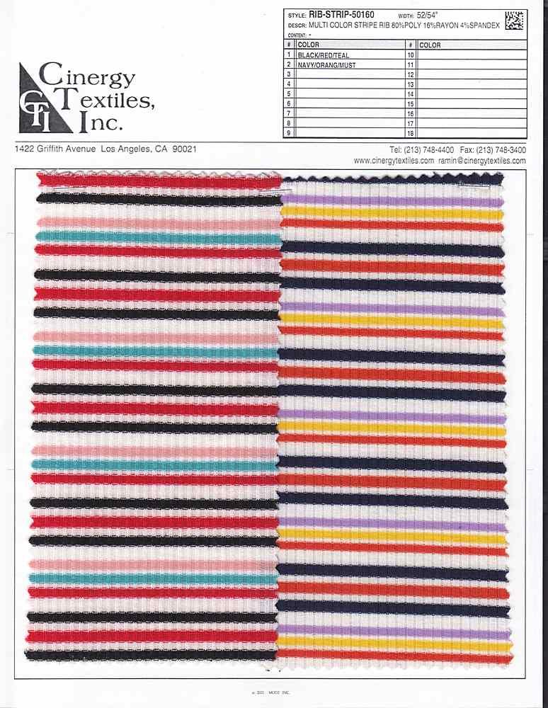 RIB-STRIP-50160 / Multi Color Stripe Rib 80%Poly 16%Rayon 4%Spandex