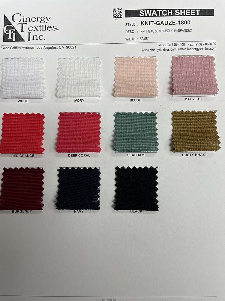 KNIT-GAUZE-1800 / Knit Gauze 99%Poly 1%Spandex