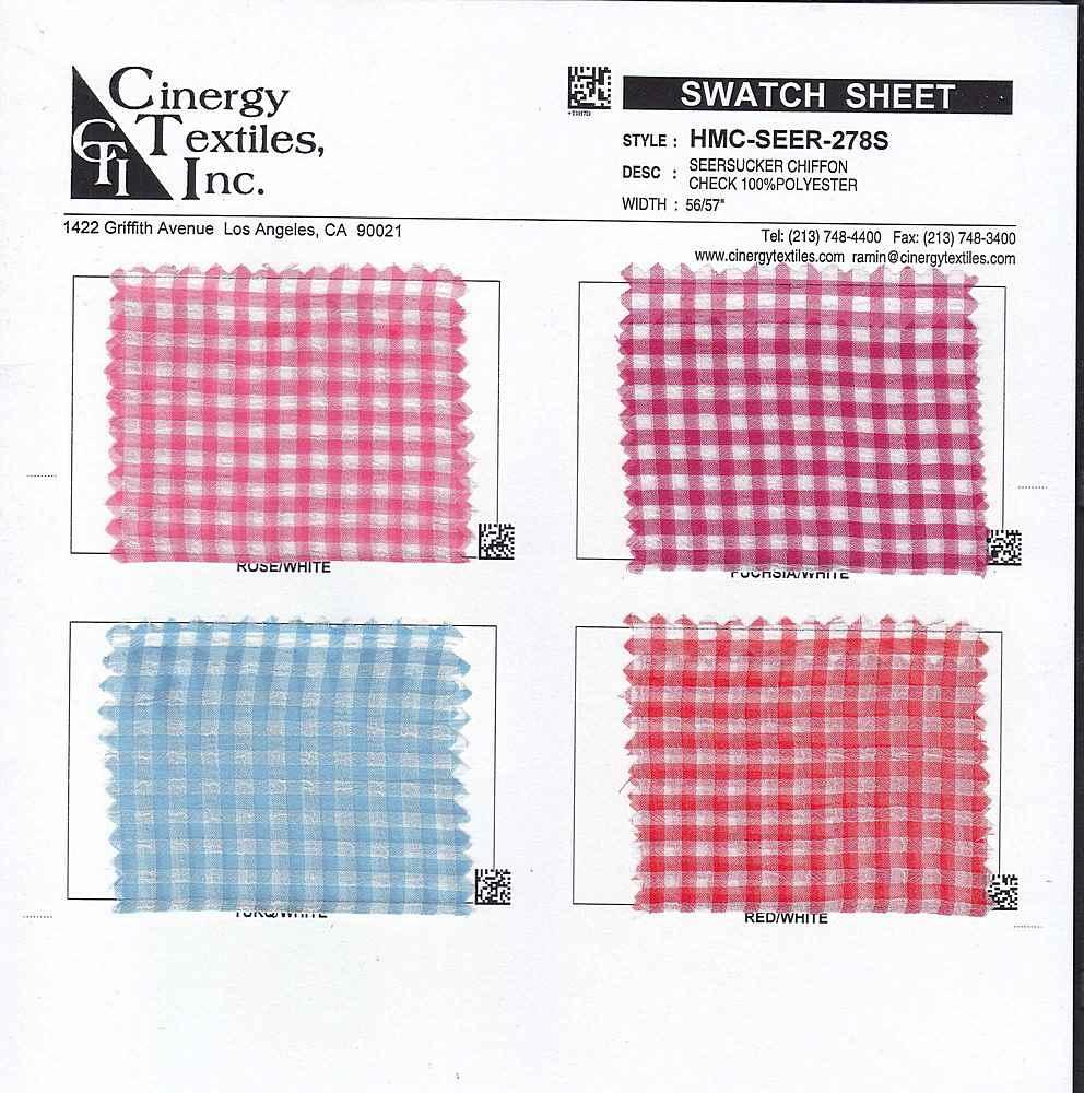HMC-SEER-278S / Seersucker Chiffon Check 100%Polyester