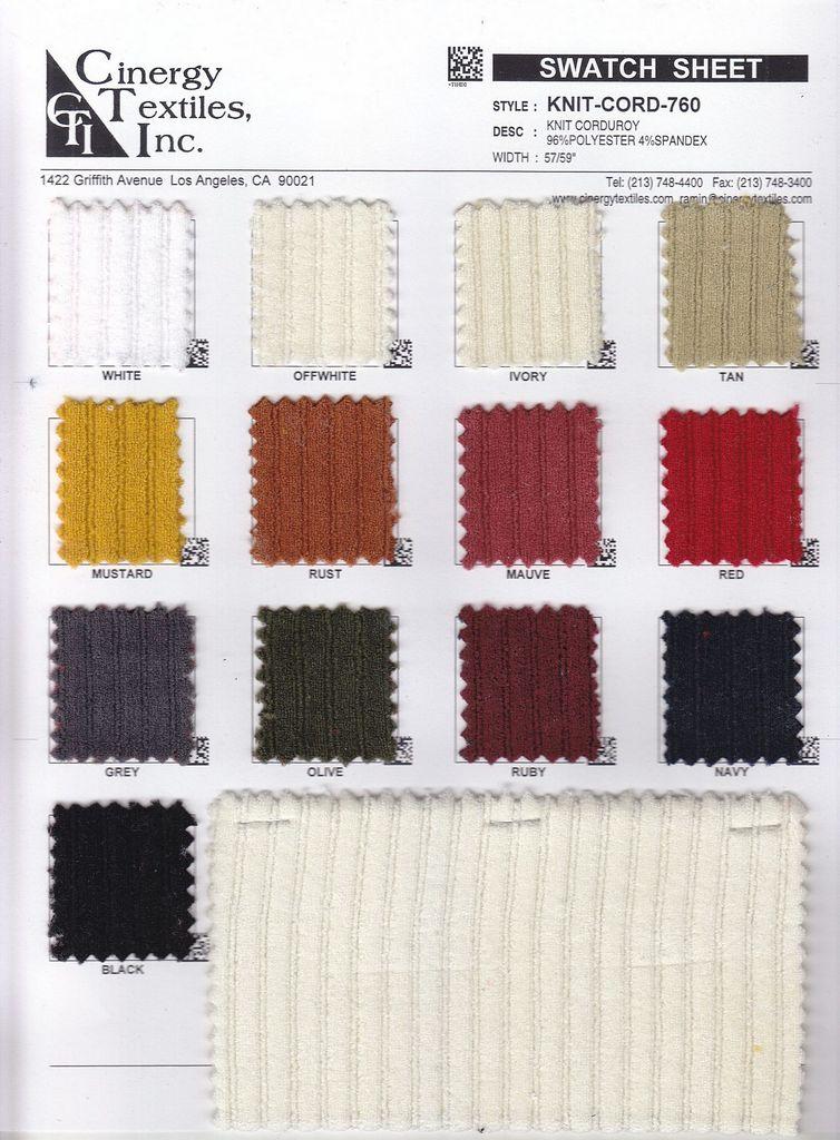 KNIT-CORD-760 / Knit Corduroy 96%Polyester 4%Spandex