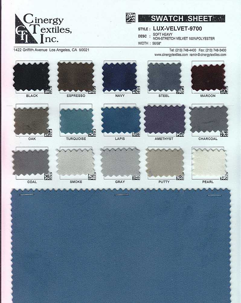 LUX-VELVET-9700 / Soft Heavy Non-Stretch Velvet 100%Polyester