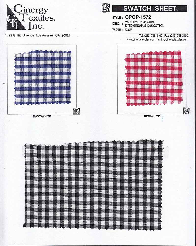 "CPOP-1572 / YARN DYED 1/4"" YARN DYED GINGHAM 100%COTTON"