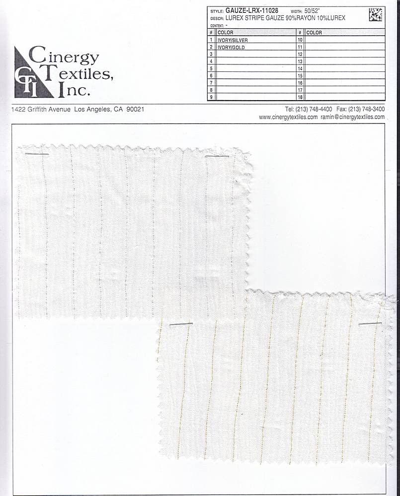 GAUZE-LRX-11028 / Lurex Stripe Gauze 90%Rayon 10%Lurex