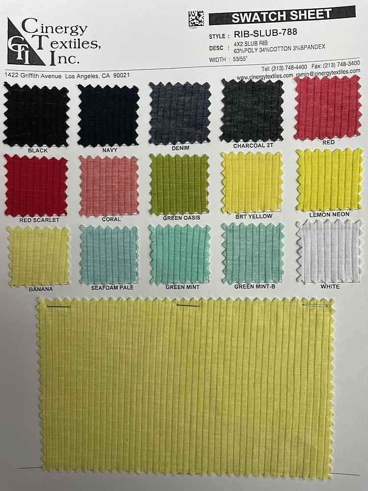 RIB-SLUB-788 / 4x2 Slub Rib 63%Poly 34%Cotton 3%Spandex