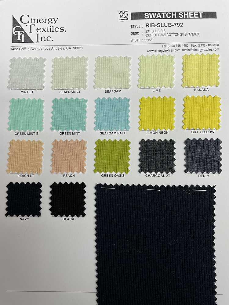 RIB-SLUB-792 / 2x1 Slub Rib 63%Poly 34%Cotton 3%Spandex